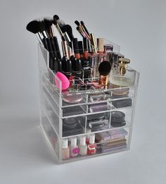"Clear Acrylic 5 Tier Makeup Organizer with Brush Holder ""SleekBox"" Acrylic Handles"