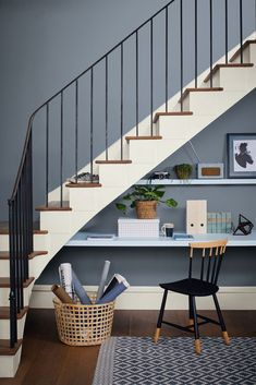Creative thinking to solve the problem of not having a spare room going free for an office space can have incredible results. We love this workspace under the stairs!