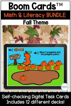 This fall themed bundle of Boom Cards includes 12 different math and literacy decks with audio. Skills include counting, number recognition, 2D shapes, comparing sets, beginning sounds, letter matching, rhyming, CVC words, and CVC sentences. These self-checking digital task cards are perfect for your kindergarten, first grade, or preschool learners. They can be used for distance learning, home learning, or in the classroom. #kindergarten #boomcards Letter Matching, Math Literacy, Number Recognition, Beginning Sounds, Cvc Words, Home Learning, Autumn Theme, Task Cards, First Grade