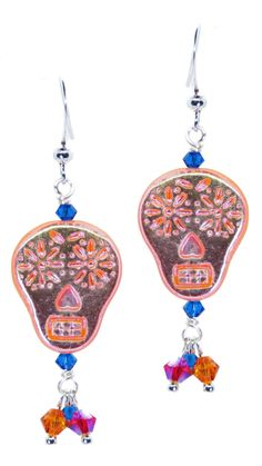 KIT_Sugar Skull Earrings_with Swarovski Crystal – Peacock Bead Shop Sugar Skull Earrings, Rings N Things, Capri Blue, Beaded Skull, Bead Shop, Head Pins, Czech Glass, Peacock, Silver Plate