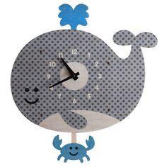 Modern Moose Whale Pendulum Wall Clock, Crab Splash Wood Kids Children Nursery