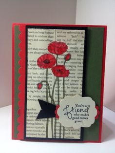 Stampin Up Poppy Parade With Inktense Pencils First Edition Designer Paper