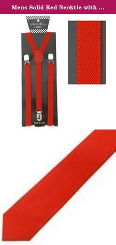Mens Solid Red Necktie with Red Suspenders. This package deal contains one solid red, regular adult size necktie and one pair of solid red adjustable Y bacl style suspenders. The color in the pictures are 100% accurate.