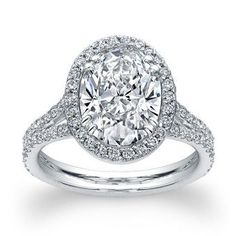Norman Silverman Platinum Oval Cut Diamond Engagement Ring at TWO by LONDON.