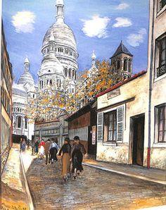 モーリス・ユトリロ(Maurice Utrillo) サク=レクール寺院の丸屋根とサン=ピエール協会の鐘楼 Les Coupoles du Sacré-Cœur et le clocher de Saint-Pierre-de-Montmartre