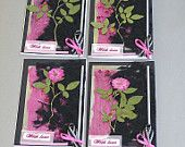 Wild Rose Silk Paper Collection of 4 Cards Made od Pressed Roses, Pure Silk Cloth, Silk Fibers, Sequins, Silver Specialty Paper and Ribbons