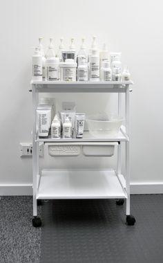 happy Dermalogica trolley! Looks like my bathroom sink area, one side, Dermalogica, other side, perfumes, I love it....<3!!!