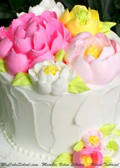Beautiful LARGE Frosting Flowers!! Member Video Tutorial LIbrary - MyCakeSchool.com