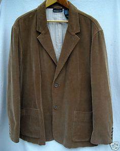 DKNY JEANS Mens XL Brown Corduroy Casual Sports Coat Blazer Jacket