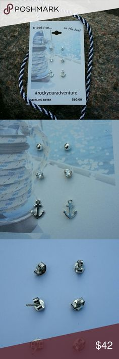 Nautical silver stud earrings Set of three pairs of earrings to mix and match with a fun nautical vibe. Sterling silver.   No trades.  Save even more with a bundle discount! Jewelry Earrings