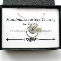 Personalized Initial Stamped Circle Pendant by TJWeddingJewelry, $27.50