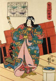 Utagawa Kuniyoshi: Hangaku-jo 板額女 / Kenjo reppu den 賢女烈婦傳 (Biographies of Wise Women and Virtuous Wives) - British Museum Female Samurai, Samurai Art, Tomoe, Geisha, Katana, Japanese Warrior, Kuniyoshi, Japanese Prints, Japanese Patterns