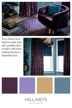 Add a punch of colour and design to a window, with the Broadleigh Aubergine curtains. Then, an aura of prestige is added, with a gentle shimmer hovering in the background and adding a silvery charm. Add some luxe and glam to your living room , accessorie with gold and navy to bring the look together. Blue Interiors, Deep Purple, Interior Inspiration, Punch, Windows, Curtains, Colour, Living Room, Navy