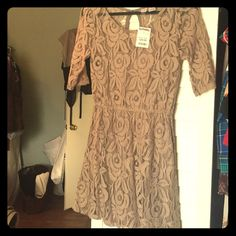 Lace taupe colored dress Cute taupe colored lace dress, stretchy waist, button back closure, brand new from TJ Max love on a hanger Dresses