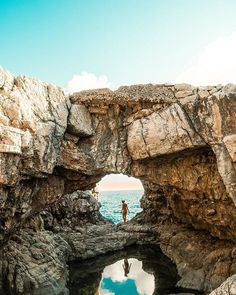 """This is the picture I'm MOST excited to share with you. It was taken on Lokrum island. We had to (literally) climbed up & down several cliffs to finally discover this """"underground"""" beauty. I also had to overcome Lokrum Island, Climbing, Grand Canyon, Shots, Lifestyle, Guys, Street, Pictures, Travel"""