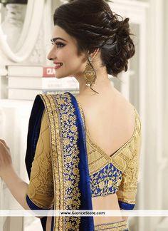 Prachi Desai Navy Blue Faux Georgette Classic Designer Saree