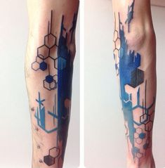 geometric  and brush stroke tattoo