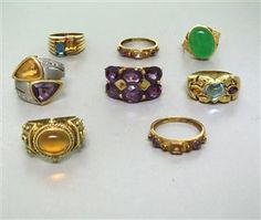 Estate Lot of 8 14k Gold Multi Colored Gemstone Rings