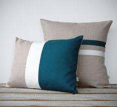 Color Block and Stripe Pillow Set in Teal and Cream Linen   Striped Pillow (16x16) Colorblock Pillow (12x16) by JillianReneDecor   Modern