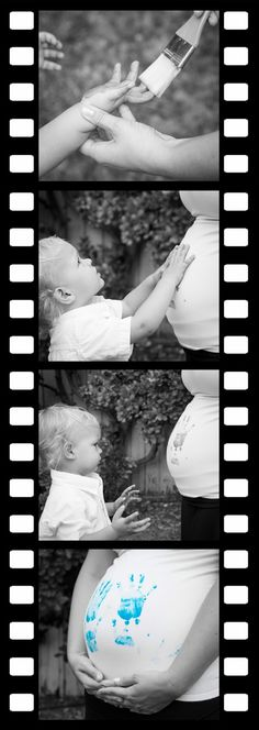 Have the first baby reveal the second baby :) Adorable