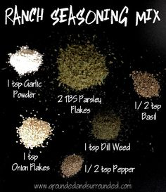 Homemade Ranch Seasoning Mix This simple recipe can completely replace the ranch seasoning mix packets you buy at the store. They are insanely expensive. Not to mention the weird unknown ingredients so this version is a fantastic alternative! Homemade Ranch Seasoning, Ranch Seasoning Mix, Cajun Seasoning Recipe, Taco Seasoning, Homemade Spices, Homemade Seasonings, Garam Masala, Guestbook Wedding, Ranch Packet