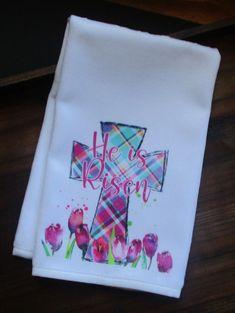 Cross Hand Towel Plaid Cross Towel Easter Hand Towel He Is