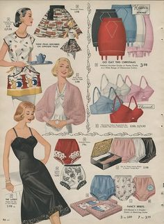 1957 Simpsons Sears Christmas Catalogue, vintage lingerie 50s 60s slip bra underwear girdle