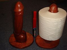 Robinson for 2015 & Beyond: A Clever Way to Measure Girth (penis toilet paper holder) Japan, Toilet Paper, Hand Carved, Clever, Carving, Statue, Man Humor, Meme, Etsy Shop