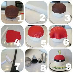 ESB Creations - How to make a Pokemon ball cake Pokemon Cake Topper, Pokemon Cupcakes, Pikachu Cake, Cake Decorating Techniques, Cake Decorating Tips, Fondant Cakes, Cupcake Cakes, Pokemon Birthday, Pokemon Party