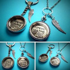 30mm FOREVER IN MY HEART Memory Living Filled Locket - in memory keepsake gift