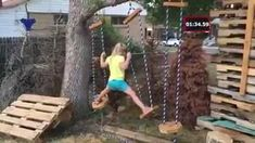 This awesome dad built an incredible NBC American Ninja Warrior obstacle course for his kid who& definitely going to be the next Jessie Graff! Kids Ninja Warrior, American Ninja Warrior Obstacles, Ninja Warrior Course, Backyard Playground, Backyard For Kids, Backyard Games, Diy For Kids, Playground Ideas, Outdoor Games