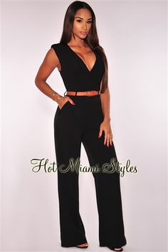Black Faux Wrap Belted Jumpsuit clubwear cocktail Women's clothing hot miami styles hotmiamistyles hotmiamistyles.com