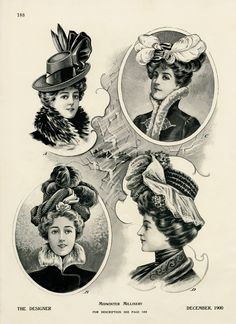 Victorian midwinter millinery, vintage hat graphics, antique hat illustration, ladies Victorian fashion, womens winter hat printable