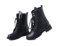 New Fashion Women's Cool Black PUNK Military Army Knight Lace-up Short Boots Shoes