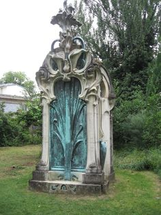 Art Nouveau funerary monument in the garden of the Musée de l'Ecole de Nancy  (door to the other side, perhaps?)