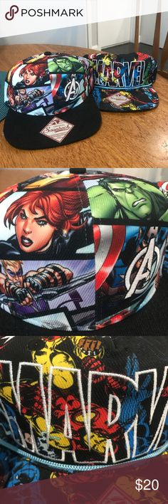 NWOT • Marvel Comics Hats (Set of 2) Marvel Comics set of two. Never worn. Snap backs with cardboard still inside.  ✅ Accepting reasonable offers 🚫 No modeling pics, no trades ✨Ask questions before purchasing! 🚭 Smoke-free home 👠👗💄Bundle to save! Accessories Hats