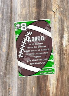 Hey, I found this really awesome Etsy listing at https://www.etsy.com/listing/181303255/football-party-invitation-football