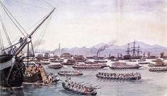 First Opium War: British ships approaching Canton (Guangzhou) in May 1841