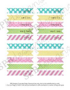 cupcake flags  printable pdf  spring fling by sweetpeababy on Etsy
