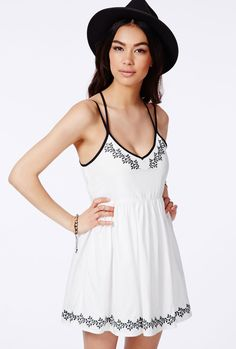 Shop White Strap Back Black Embroidery Skater Dress online. Sheinside offers White Strap Back Black Embroidery Skater Dress & more to fit your fashionable needs. Free Shipping Worldwide!