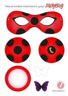 Free ladybug template - mask and yo-yo, with white and black decorations . - Free ladybug template – mask and yo-yo, with white and black butterflies. 4th Birthday Parties, Birthday Party Favors, Girl Birthday, Frozen Birthday, Miraculous Ladybug Costume, Miraculous Ladybug Anime, Ladybug Crafts, Miraclous Ladybug, Festa Lady Bag