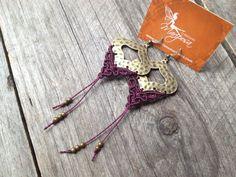 Micro macrame earrings - Prune - macrame earrings boho bohemian gypsy elven women jewelry micromacrame