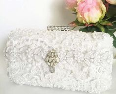 Ivory Lace Beaded Bridal Clutch by CloeNoel on Etsy
