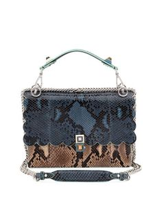 Fendi Kan I Scallop Genuine Python Shoulder Bag - Blue In Blue/ Brown Calf Leather, Leather Shoulder Bag, Shoulder Strap, Shoulder Bags, Satchel Backpack, Crossbody Bag, Animal Print Purses, Animal Prints, Cute Backpacks