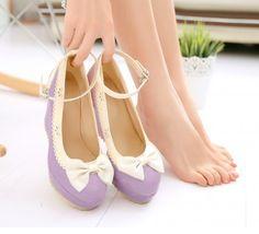 "Japanese sweet princess lolita bowknot heels Coupon code ""cutekawaii"" for 10% off"
