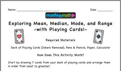 Math Pages, Playing Cards, Joker, Deck, Names, Activities, Playing Card Games, Front Porches, The Joker