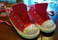 You will need:         A pair of plastic toe shoes. Converse sneakers work great.      Rubbing alcohol      E6000 glue or a Swarovski Crystal Glue Pen      Enough Flat back crystals to cover your shoe or object(Swaroski elements or imitation commonly found at Micheal's Craft store or similar)