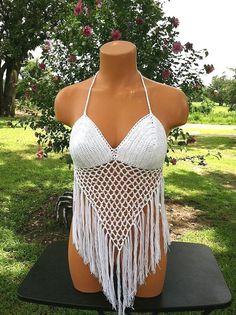 Vikni Crochet Festival Summer Halter Top, Crochet White Fringe Crop Top, Crochet Bikini Top cover up