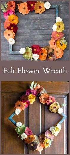 This felt flower wreath is easy to make and is perfect for fall. All you have to do is change the color scheme and you can make one for any time of year.