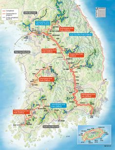 THE CROSS COUNTRY PATH IS ONE OF THE MOST POPULAR ROUTES IN KOREA. AT ONE END, IS ARA LOCK AND AT THE OTHER END BUSAN. THE PATH IS AROUND 633 KILOMETERS IN LENGTH AND BRINGS YOU THROUGH MANY BREATHTAKING LANDSCAPES.